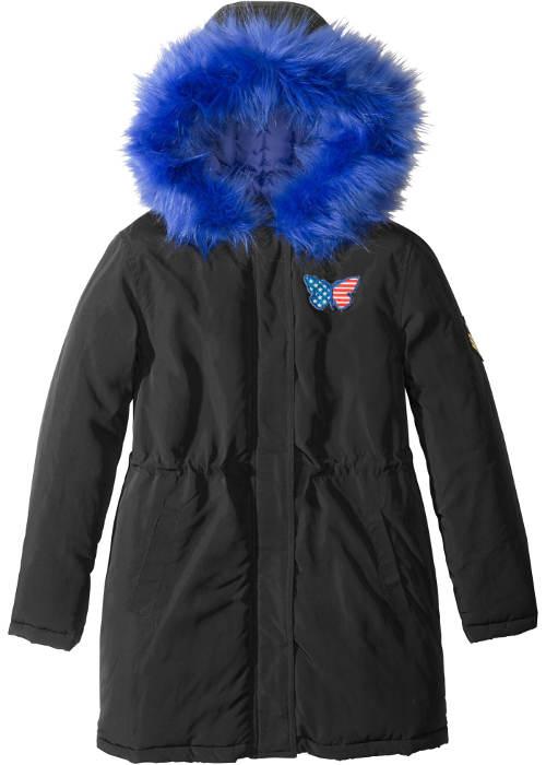Černá bunda s modrým kožíškem