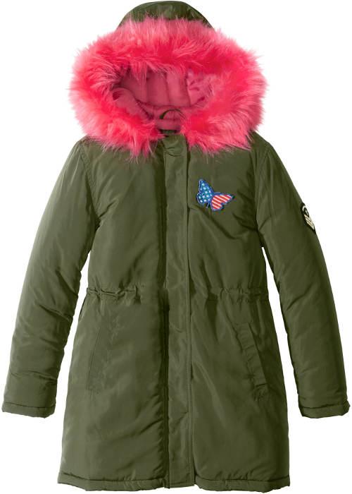 Zelená dětská bunda s růžovou kapucí