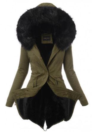 Dámský khaki zimní kabát s kožíškem