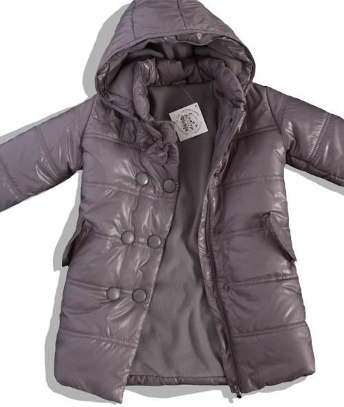 Šedý zimní dívčí kabátek