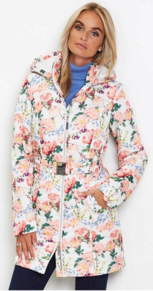 Květinová dlouhá prošívaná bunda s opaskem