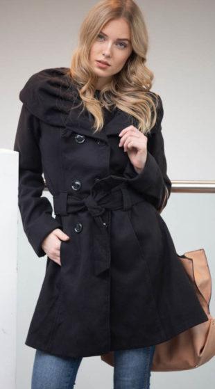 Dámský černý elegantní zimní kabát