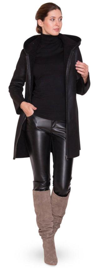 Dámský černý kožený zimní kabát Kara