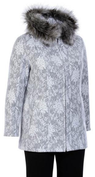 Dámský flaušový kabát s květinovým motivem