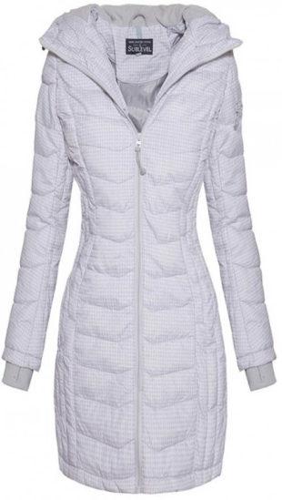 Delší světle šedá dámská zimní bunda s drobným vzorkem