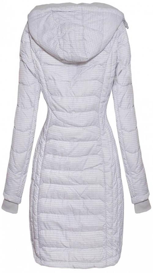 4e7000e55f6 Delší světle šedá dámská zimní bunda s drobným vzorkem