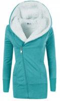 Světle modrá dámská mikinová bunda