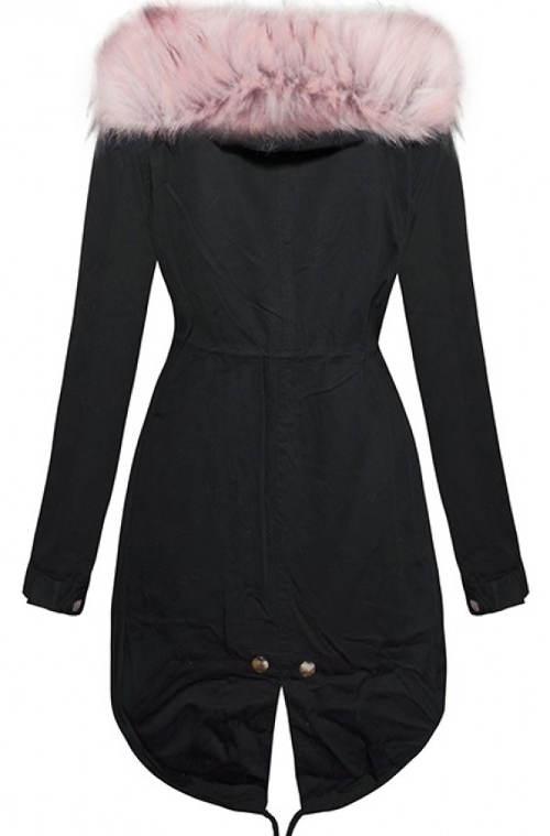 Černá dámská bunda s růžovou kapucí