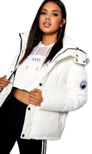 Bílá sportovní dámská zimní bunda