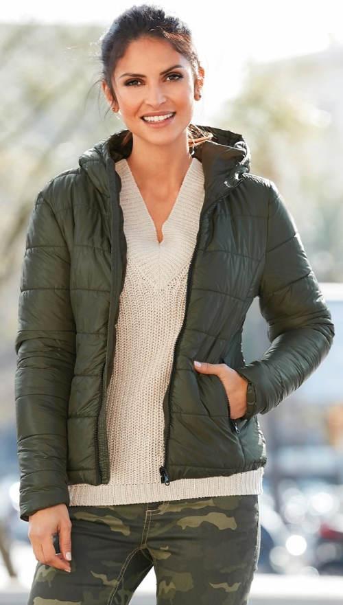 Dámská XXL prošívaná zimní bunda do pasu