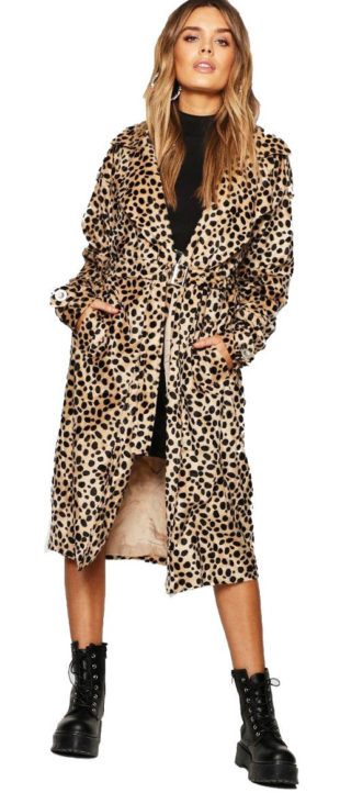 7336a4bdcc8 Dámský kabát s leopardím vzorem