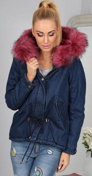 Džínová tmavě modrá bunda s velkou chlupatou kapucí