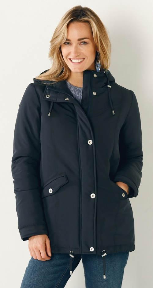 Indigová dámská zimní bunda parka
