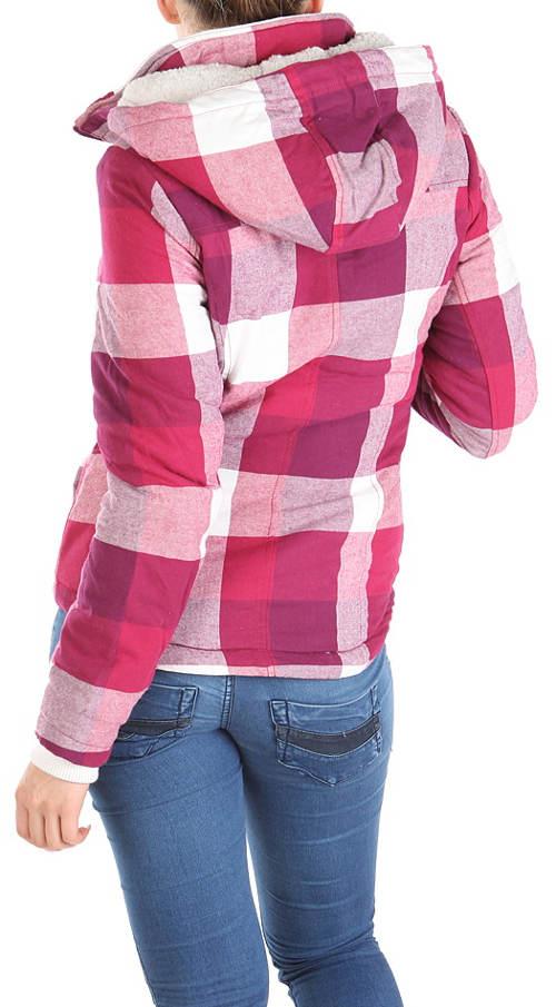Kostkovaná fialová dámská bunda