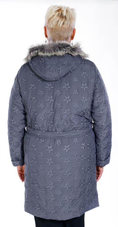 Šedý dámský zimní kabát pro starší