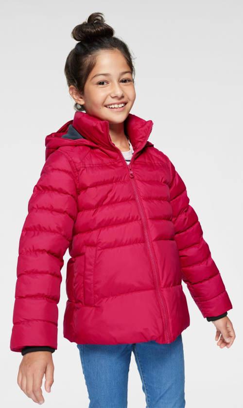 Tmavě červená dívčí prošívaná zimní bunda