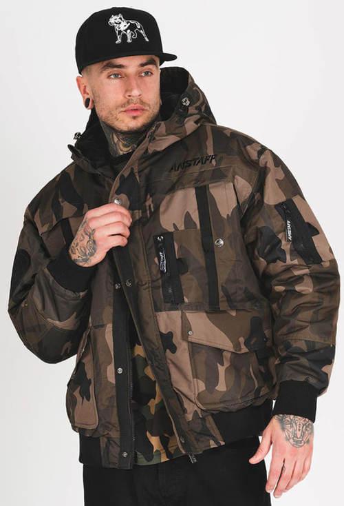 Vojenská pánská zimní bunda s maskáčovým vzorem
