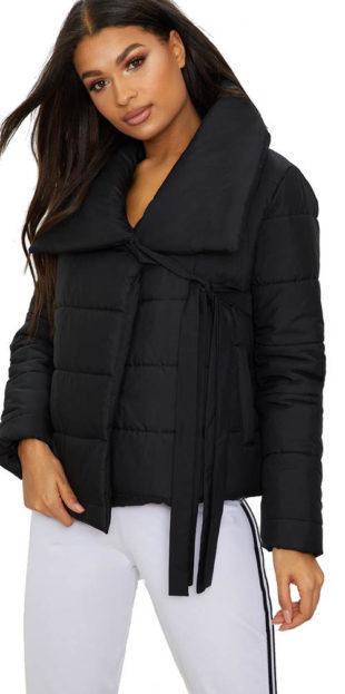 Černá zavinovací dámská bunda