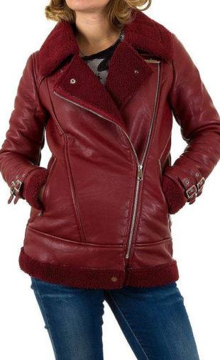 Červená kožená dámská bunda