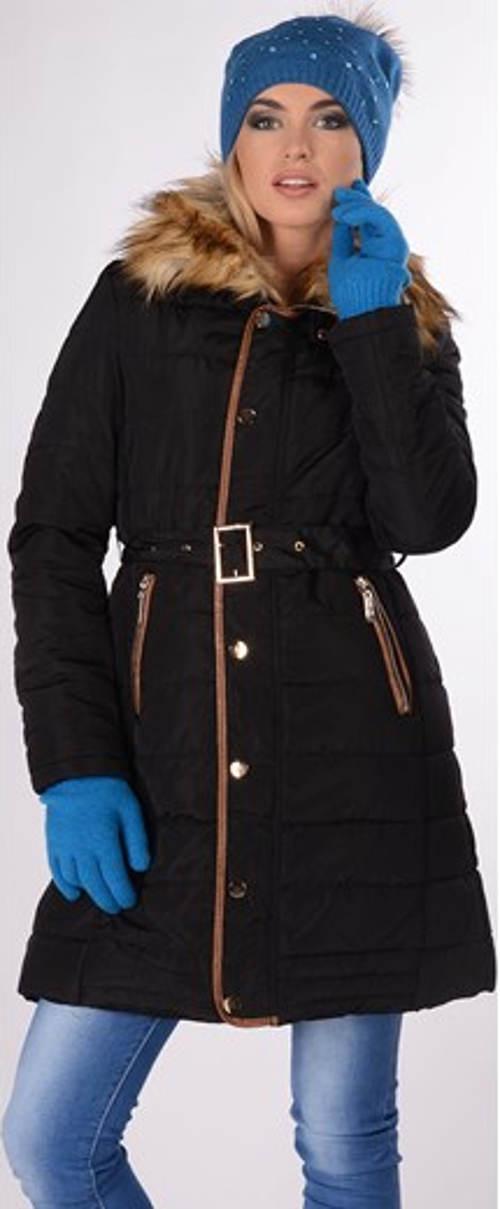 Černá dámská zimní bunda s páskem