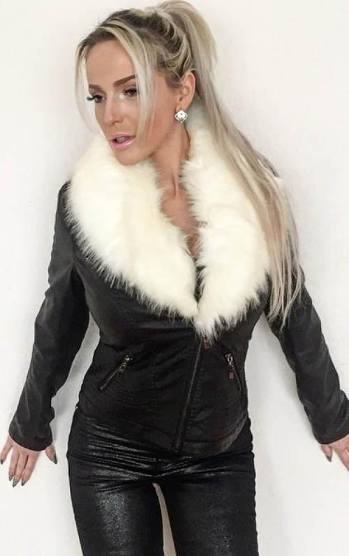 Černá kožená bunda s velkým bílým kožíškem