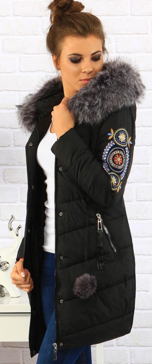 Černá prodloužená dámská bunda
