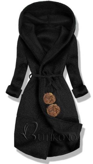 Černý dámský kabát pro jaro/podzim