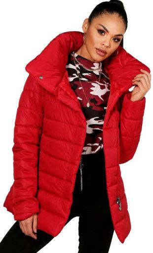 Červená dámská zimní bunda s rolákovým límcem