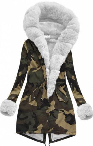 Dámská army bunda s bílým kožíškem