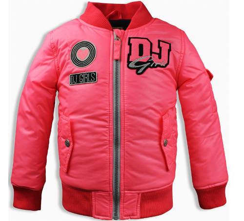 Dívčí růžová bomber bunda bez kapuce