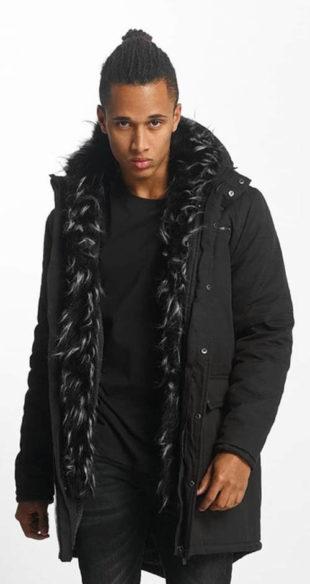 Dlouhá černá pánská zimní bunda Bangastic