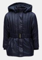 Holčičí prošívaná bunda s kapucí a páskem