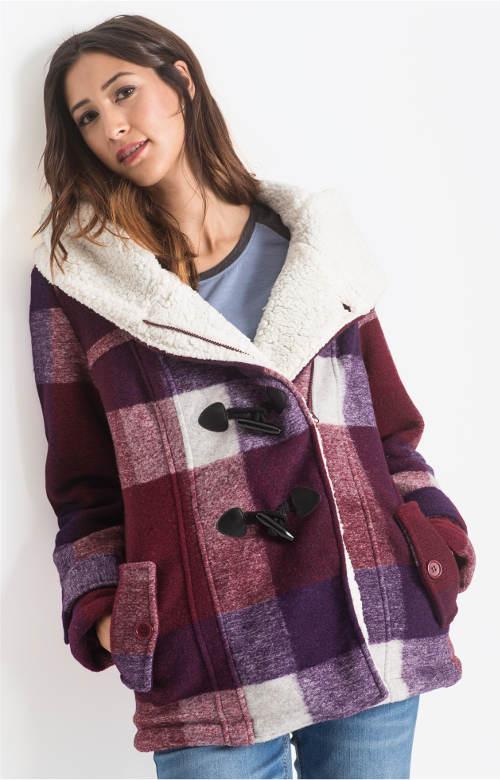 Kostkovaný dámský zimní kabátek