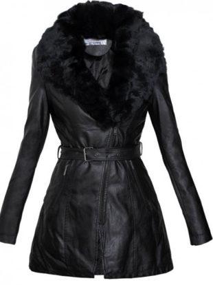 Kožený dámský kabát s kožíškem