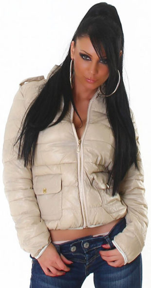 Krátká béžová dámská zimní bunda