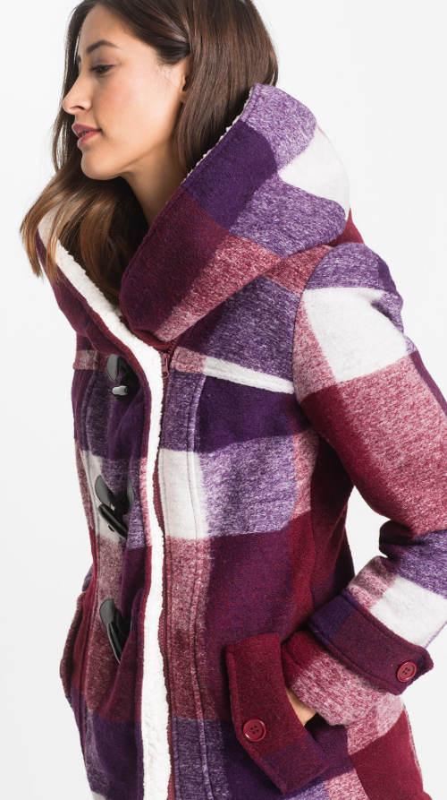 Krátký vlněný dámský zimní kabát