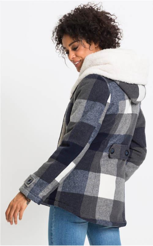 Krátký vlněný karovaný kabát s kapucí