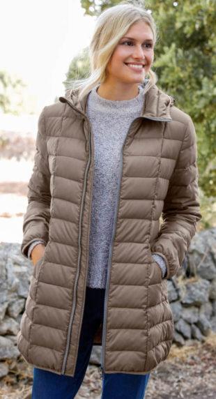 Lehký zimní péřový kabát