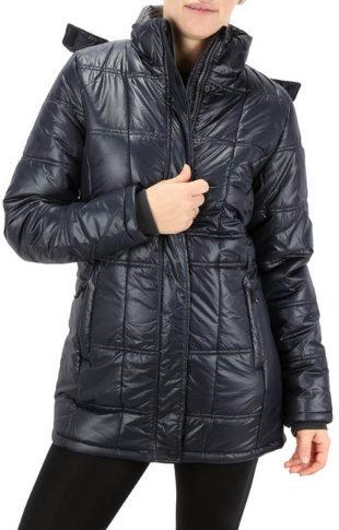 Lesklá černá dámská prošívaná zimní bunda