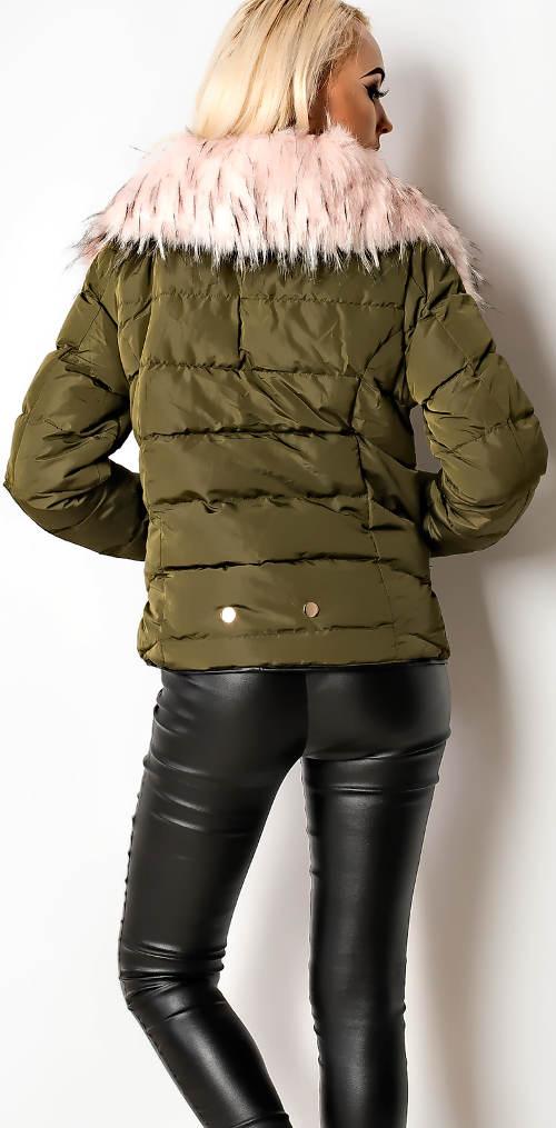 Módní bunda s kožešinovým límcem