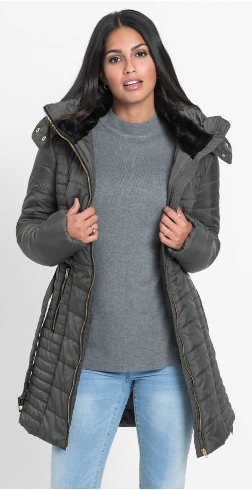 Olivová dámská zimní bunda