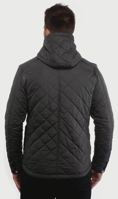 Pánská zimní bunda s kostkovaným prošitím