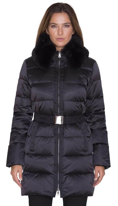 Prodloužená dámská zimní bunda Pietro Filipi s kožešinovým límcem