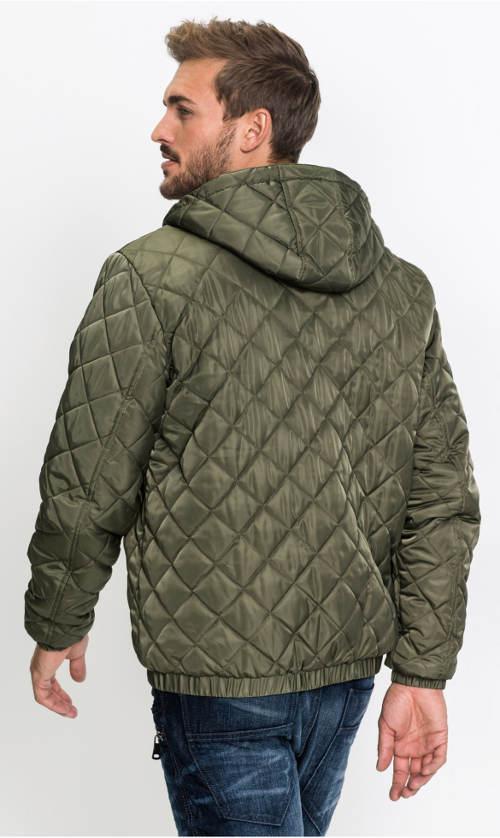 Prošívaná zimní bunda olivové barvy