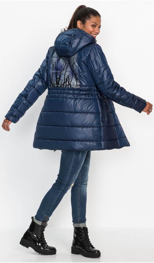 Prošívaný dámský kabát s lesklým fóliovým potiskem