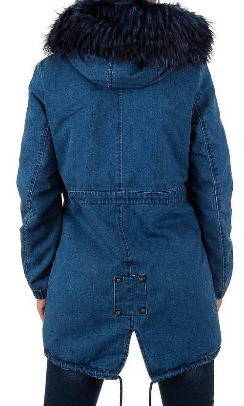 Riflová dámská zimní bunda s kožešinou