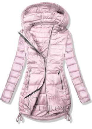 Růžová lehčí prošívaná dámská bunda