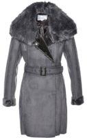 Světle šedý kabát z umělé kůže