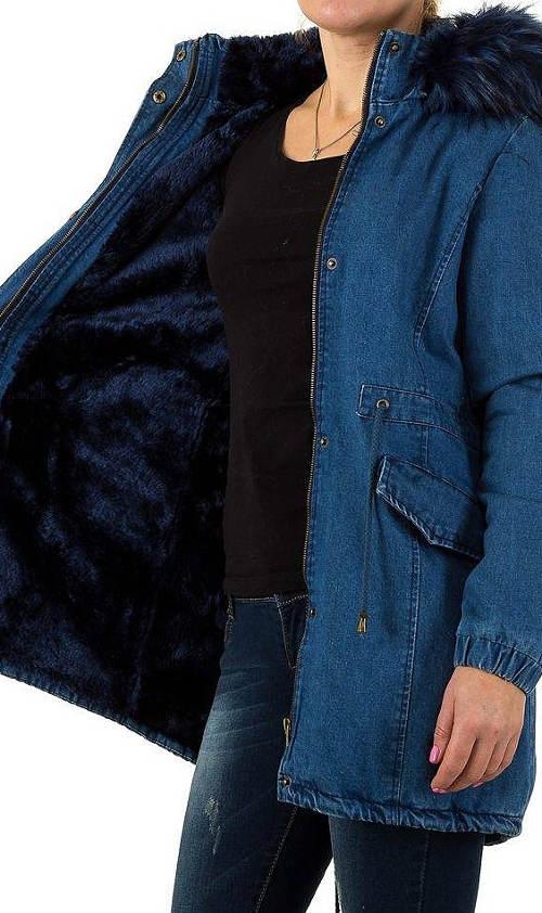 Teplá jeansová dámská bunda
