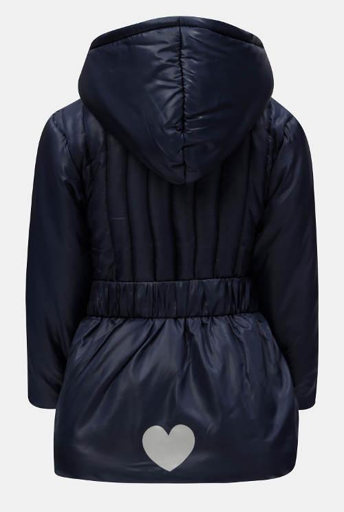 Tmavě modrá dívčí bunda s velkou kapucí